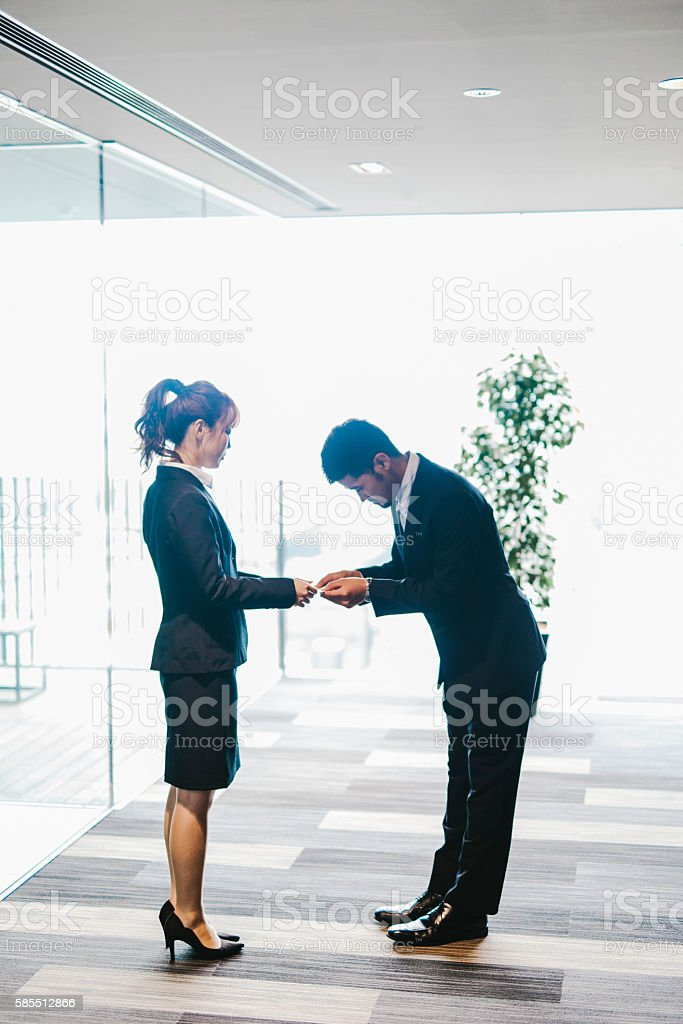 Exchange of a Business Card stock photo