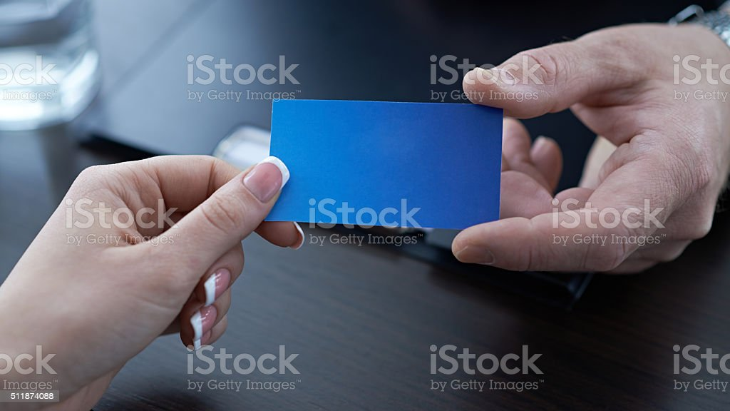 Exchange of contacts stock photo
