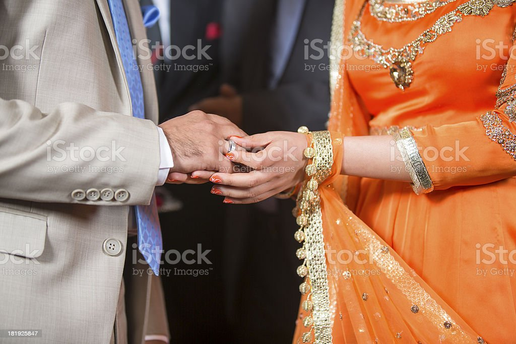 Exchange of Rings, an Indian Wedding royalty-free stock photo
