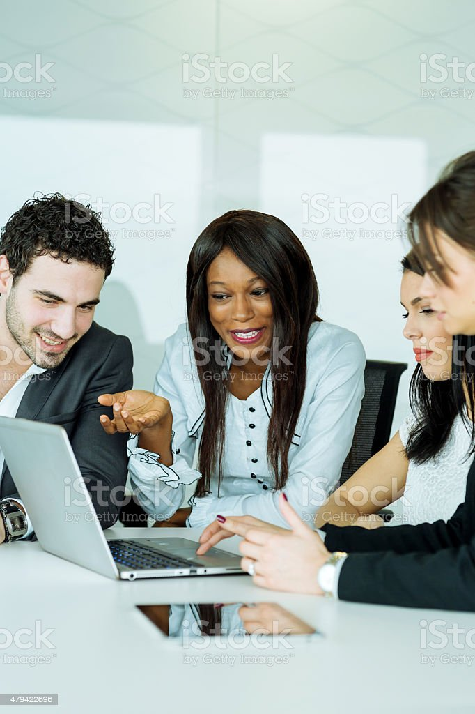 Exchange of thoughts during a business brainstorming by cheerful stock photo