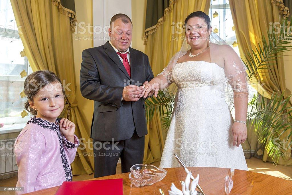 Exchange of wedding rings stock photo