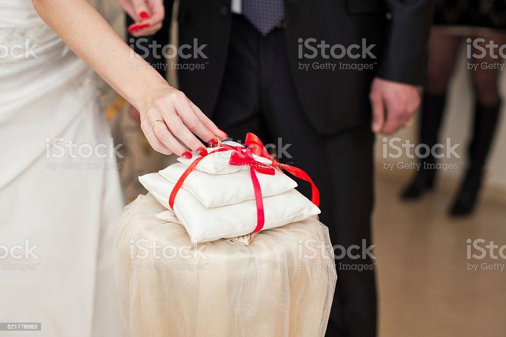 Exchange of wedding rings. stock photo