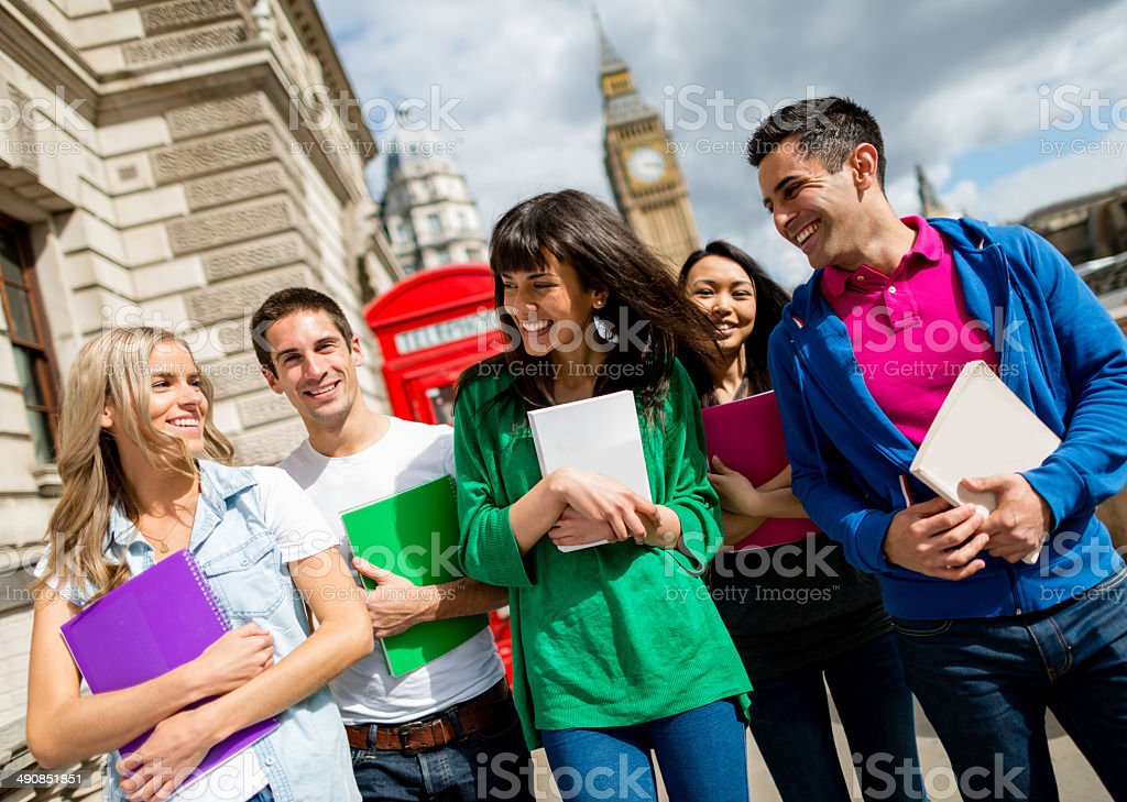 Exchange students in Britain stock photo