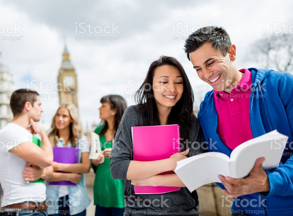 Exchange students in London stock photo