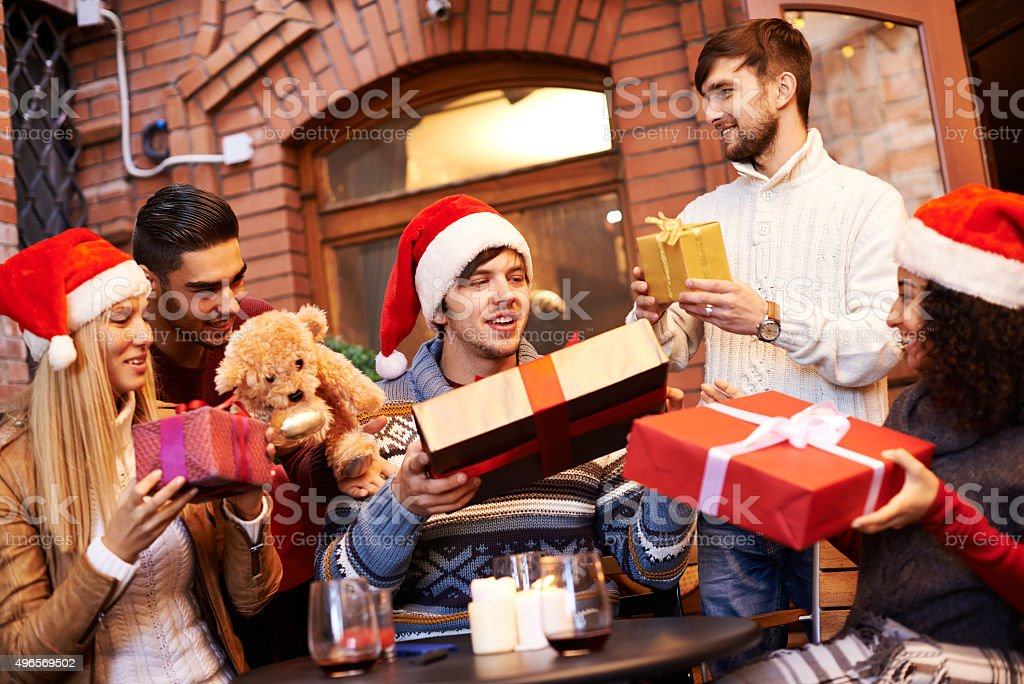 Exchanging Christmas Gifts stock photo