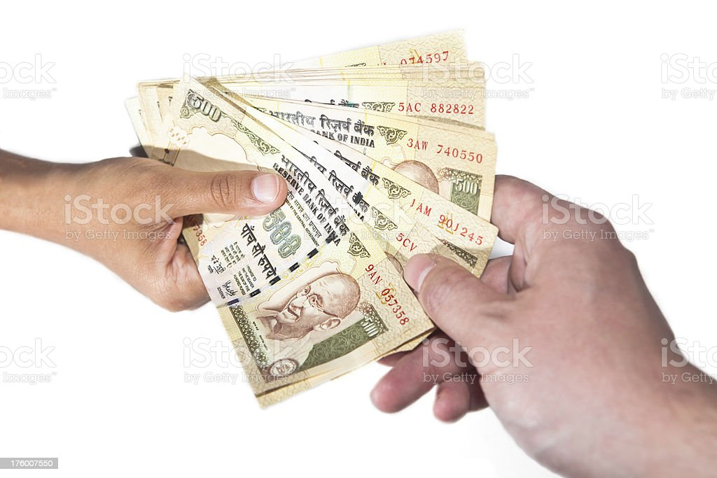 Exchanging Indian Currency stock photo