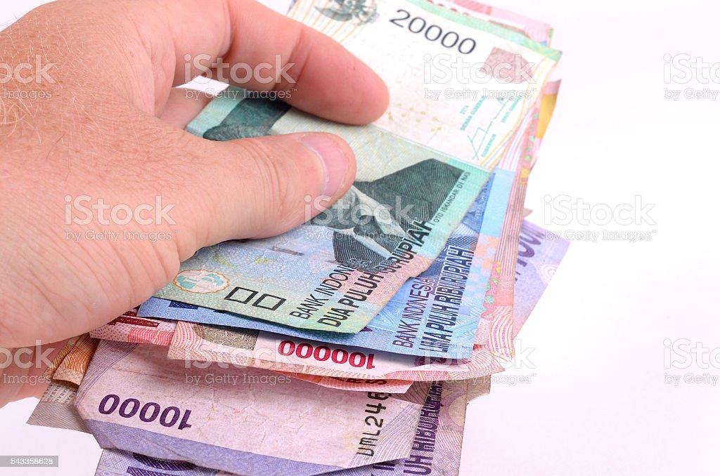 Exchanging Indonesian Rupiah stock photo
