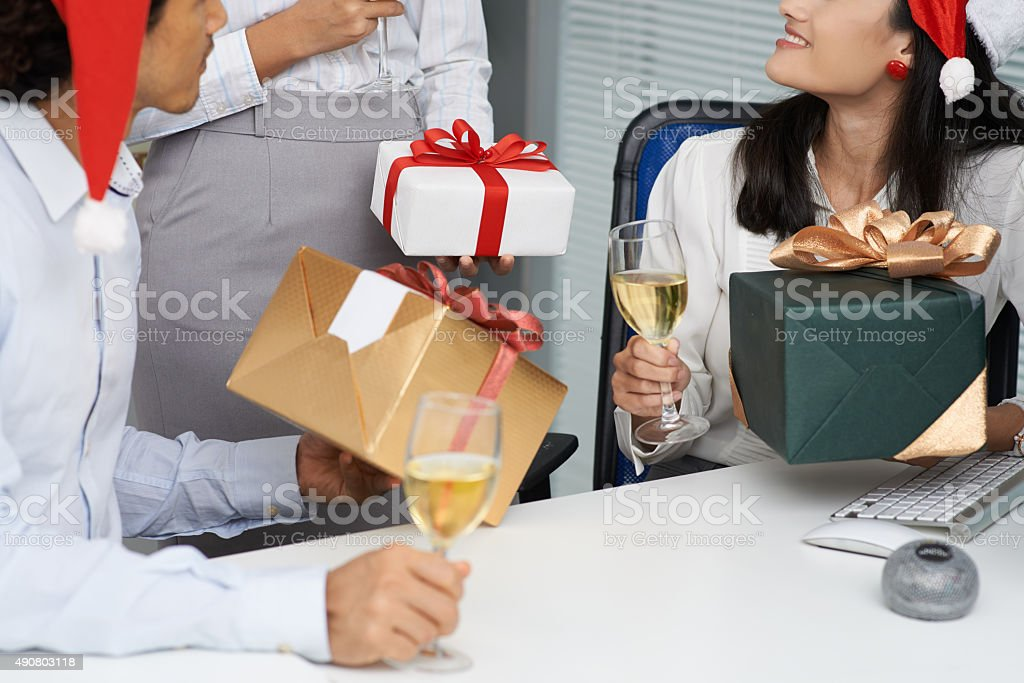 Exchanging presents stock photo