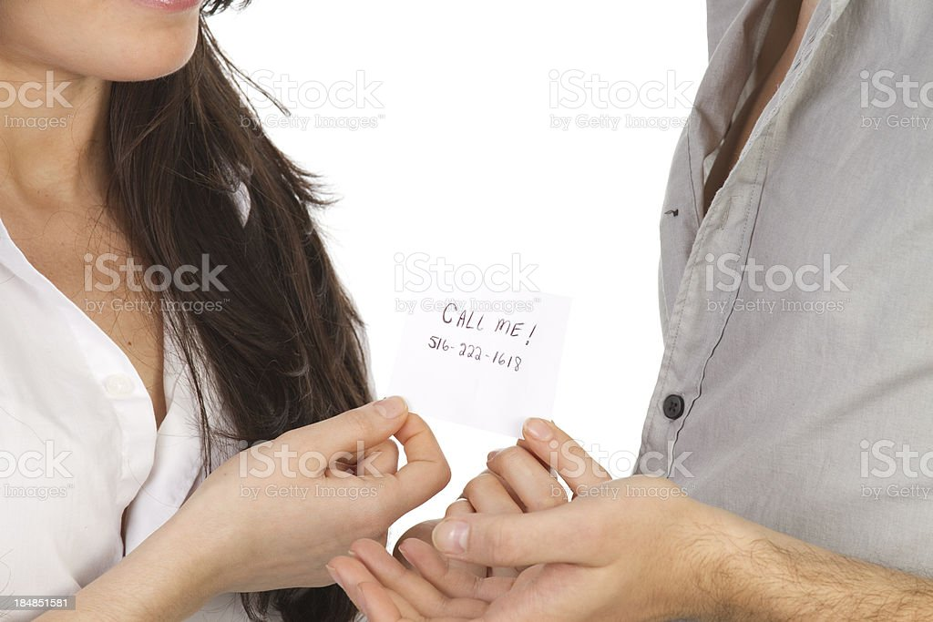 exchanging telephone number stock photo