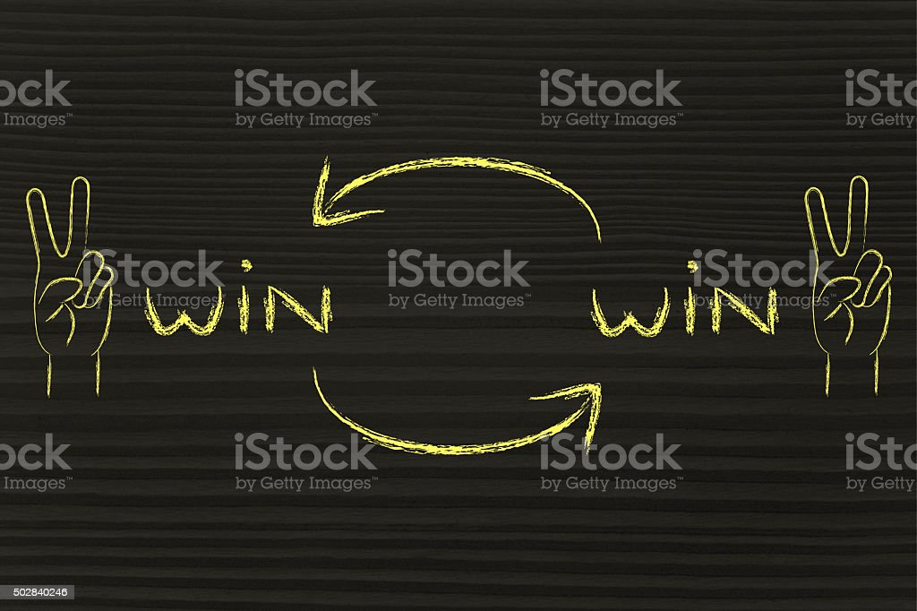 exchanging Win Win solutions, hands making Victory sign stock photo