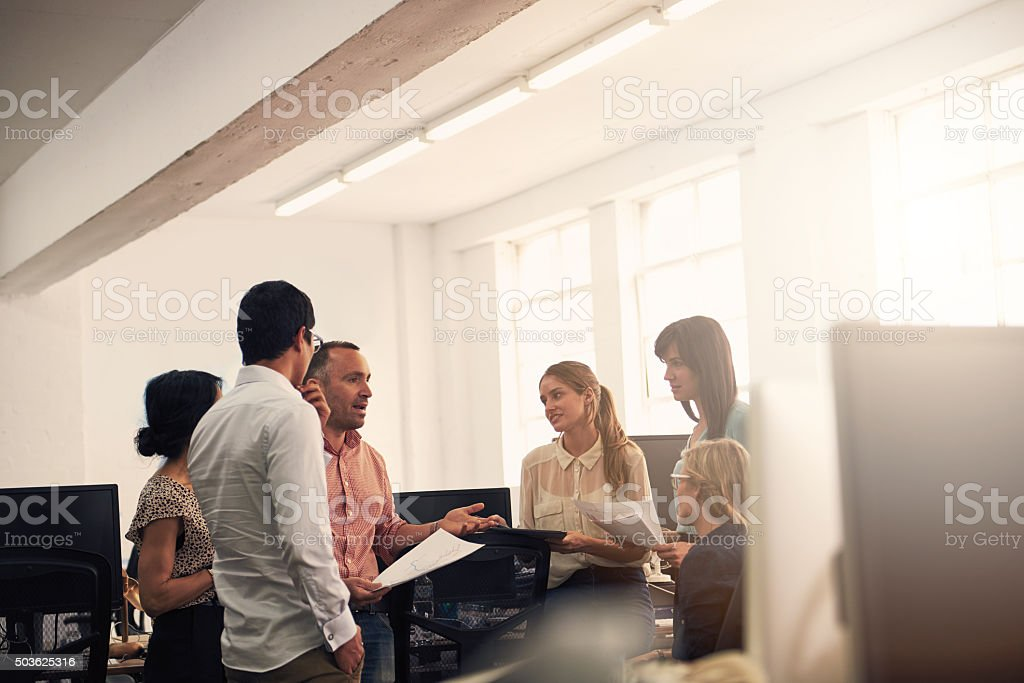 Exchanging winning ideas stock photo