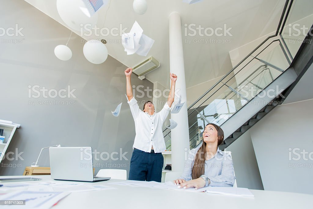 Excied business man in the office stock photo