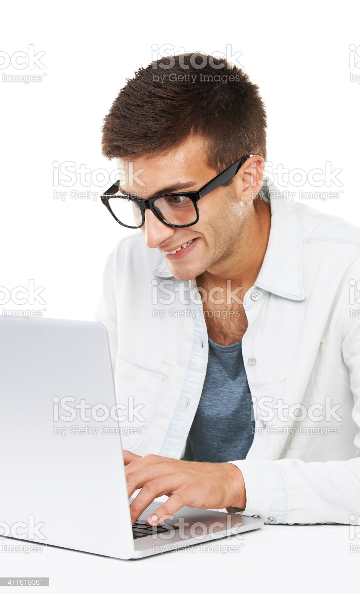 Excited about my new laptop royalty-free stock photo