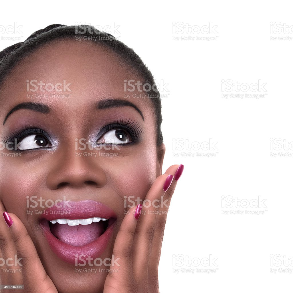 Excited African American Winner Woman stock photo