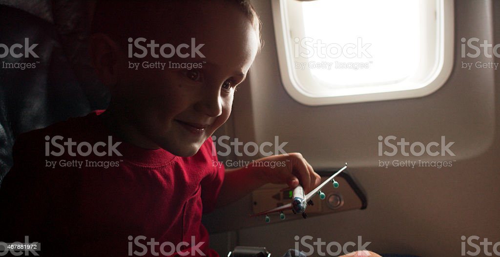 Excited Airplane Ride stock photo