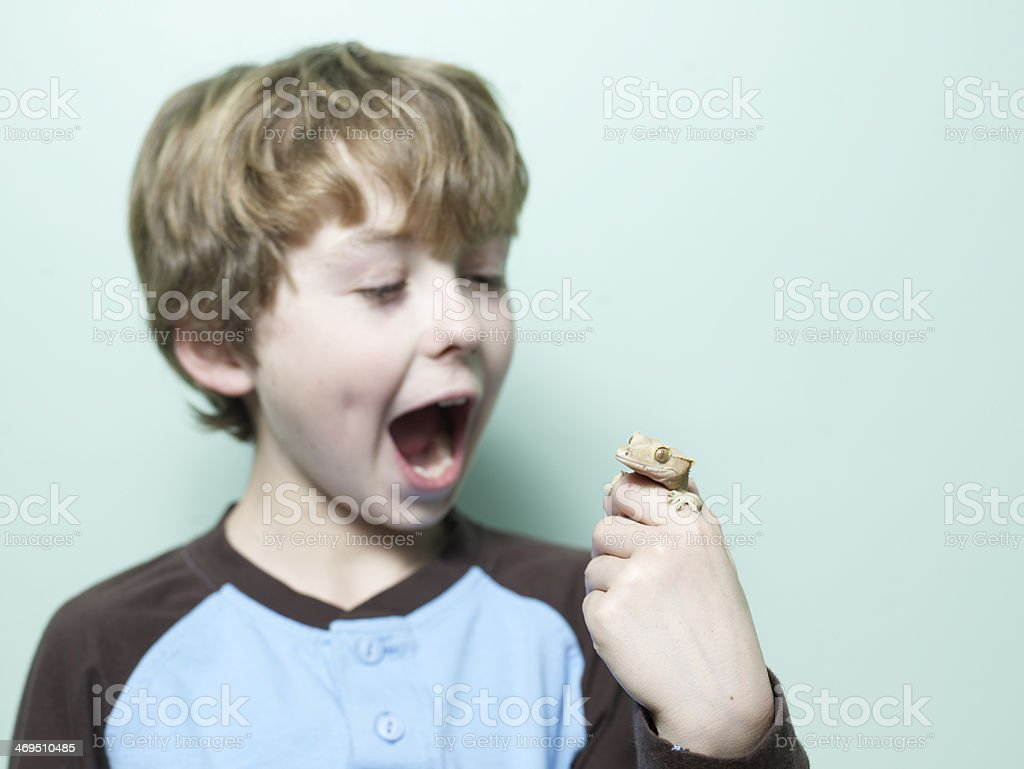 Excited Boy Holding Lizard in Hand royalty-free stock photo