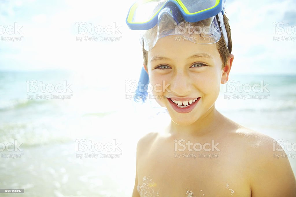 Excited boy ready to snorkel royalty-free stock photo
