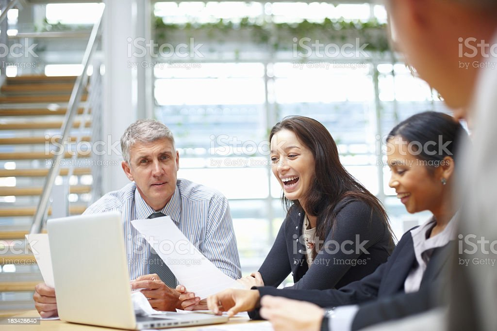 Excited buisness people working on project royalty-free stock photo