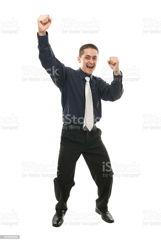 Excited business man, isolated on white royalty-free stock photo