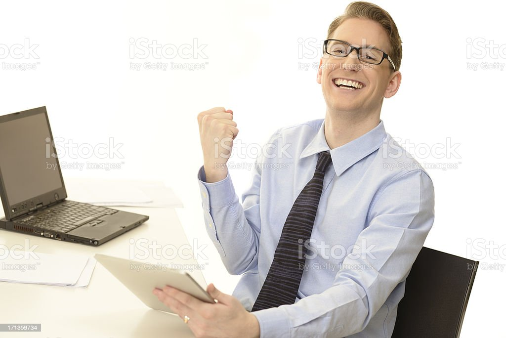 Excited business man royalty-free stock photo