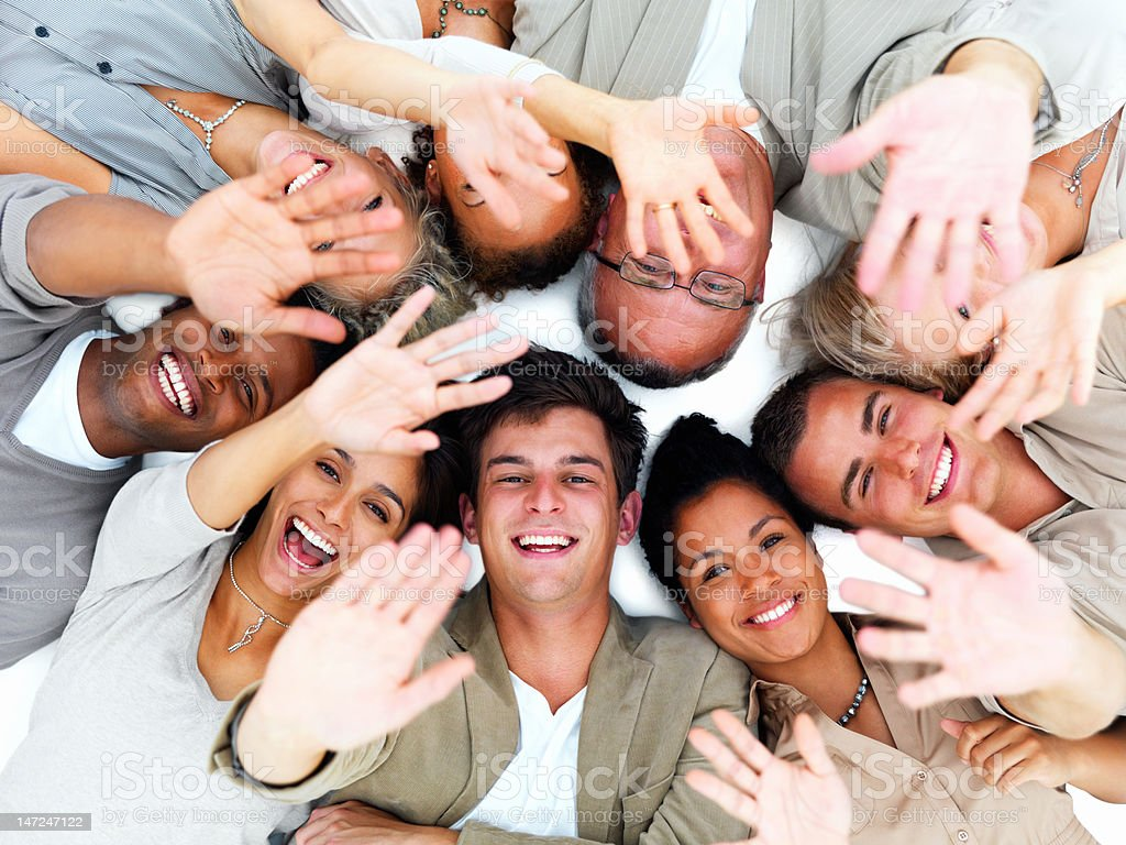 Excited business people gesturing royalty-free stock photo
