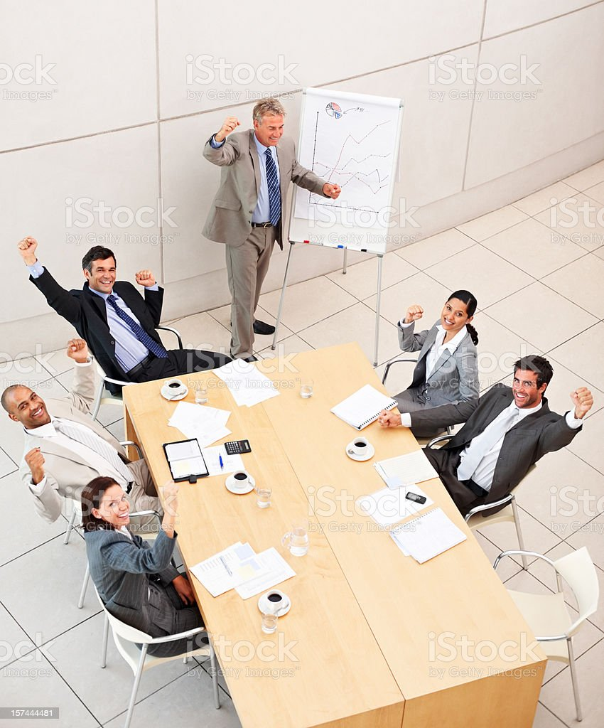 Excited business people in the meeting royalty-free stock photo