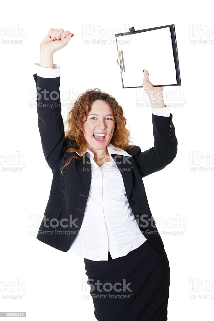 Excited business woman enjoys a successful deal royalty-free stock photo