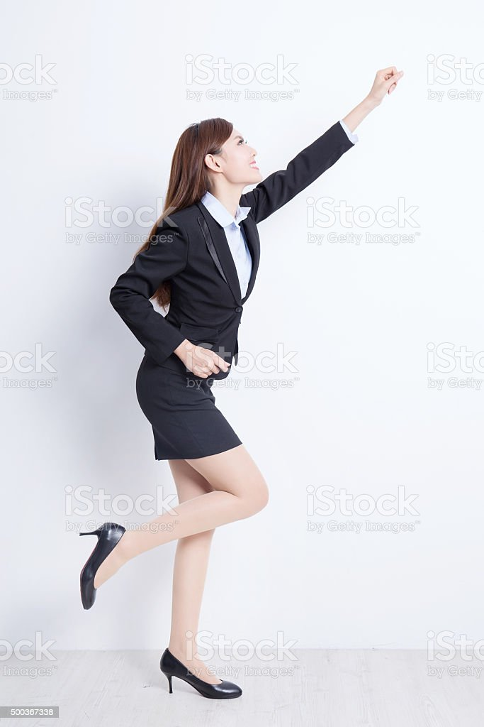 Excited business woman stock photo