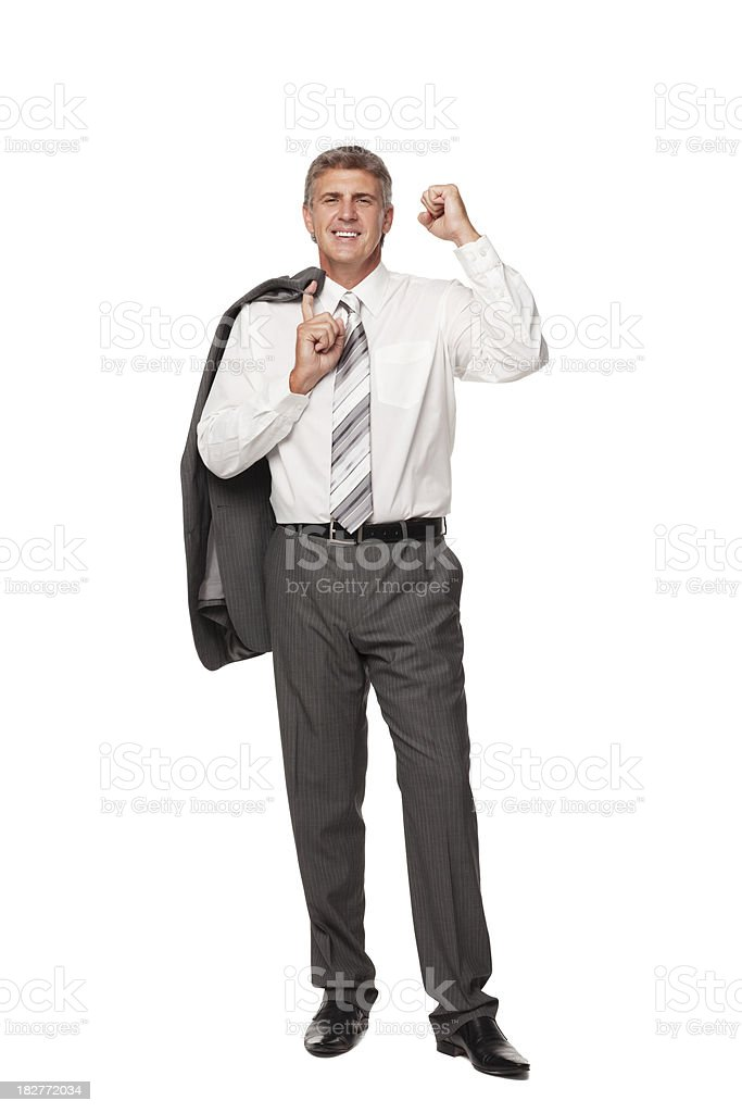 Excited Businessman Holding Coat. Isolated royalty-free stock photo