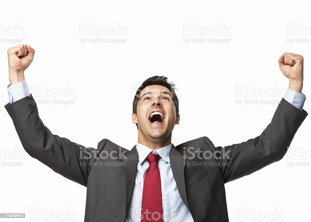 Excited Businessman - Isolated stock photo