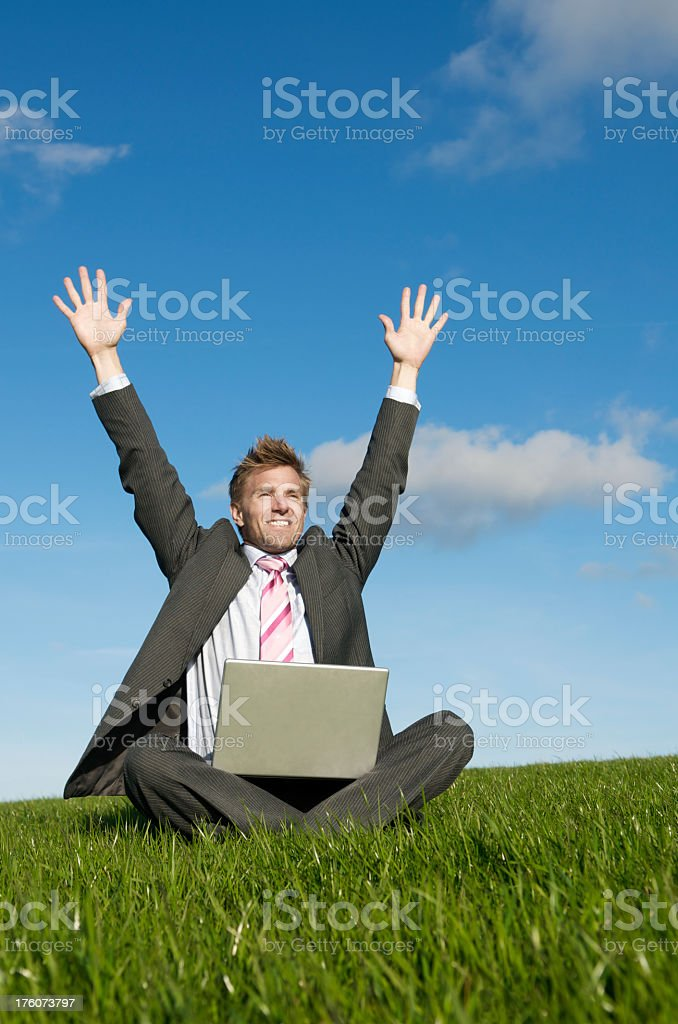Excited Businessman Sitting Meadow Celebrating with Hands in the Air royalty-free stock photo