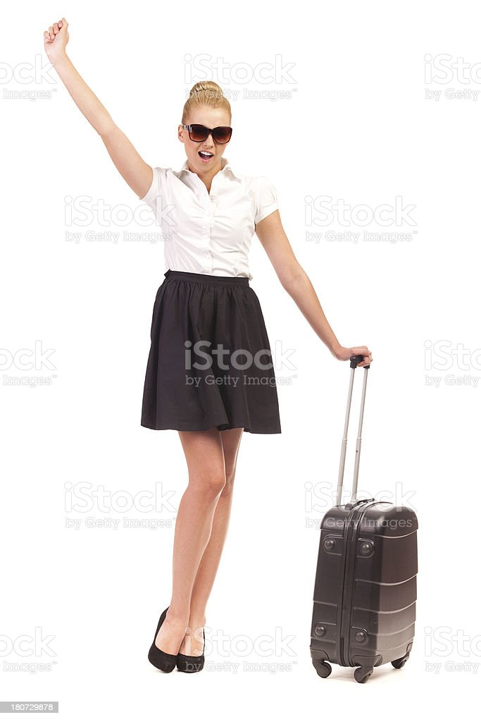 Excited Businesswoman with black bag. royalty-free stock photo