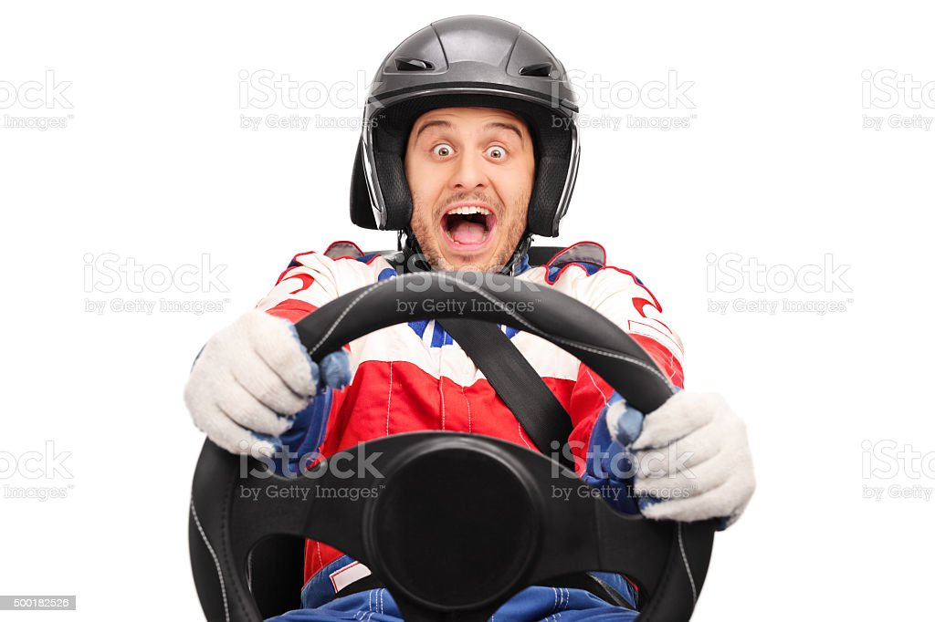 Excited car racer driving very fast stock photo