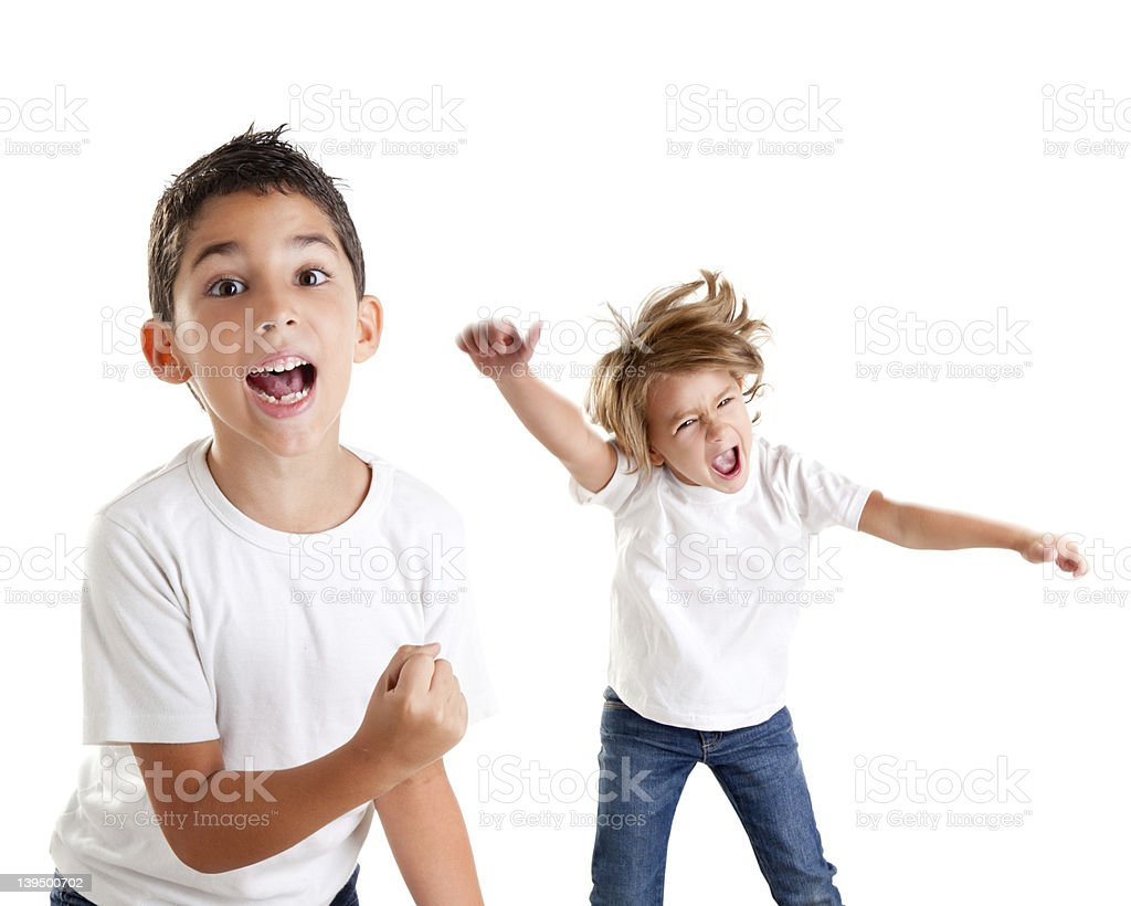 excited children kids happy screaming and winner gesture royalty-free stock photo