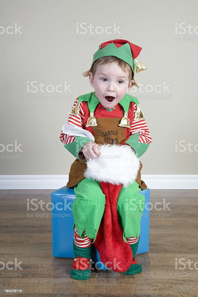 Excited Christmas Elf stock photo