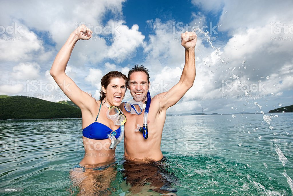 Excited Couple on Vacation royalty-free stock photo