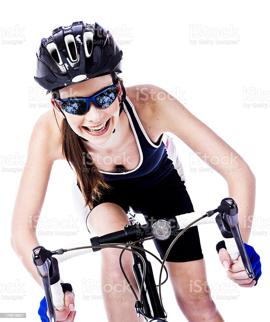 Excited cyclist royalty-free stock photo
