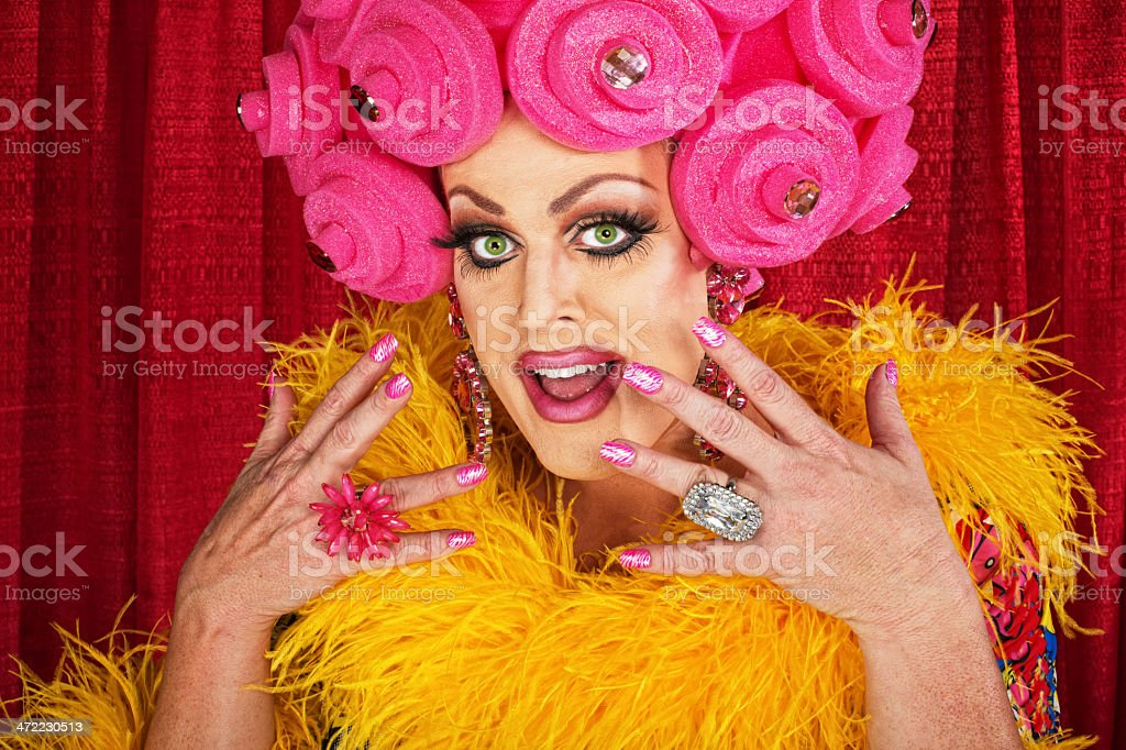 Excited Drag Queen stock photo