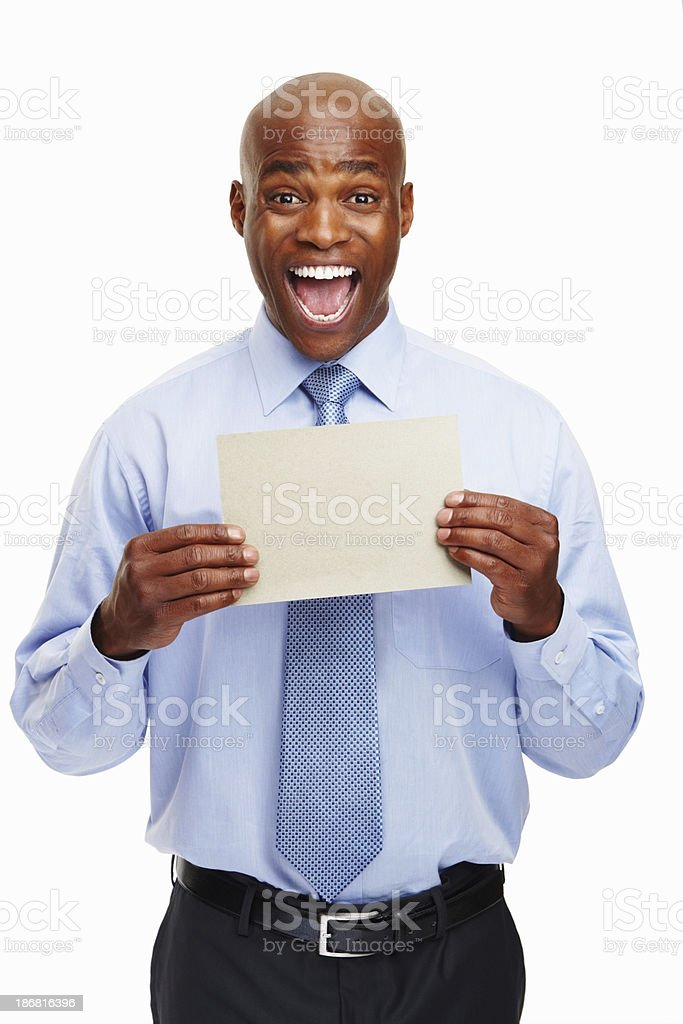 Excited executive showing a card royalty-free stock photo