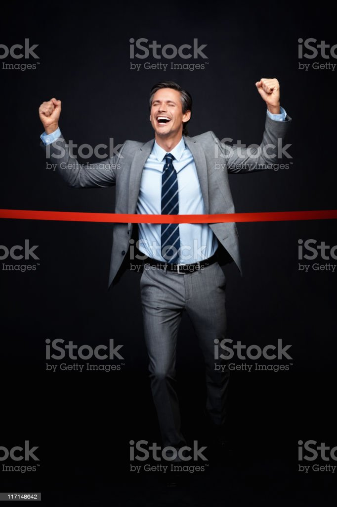 Excited executive won the race royalty-free stock photo