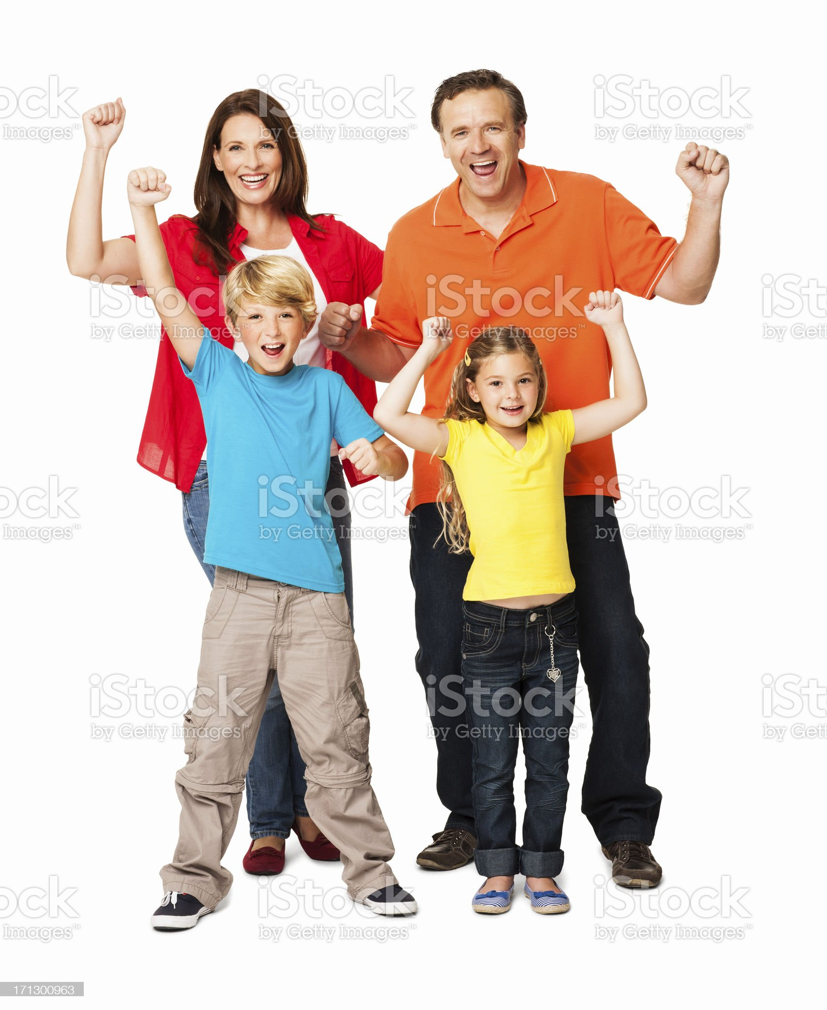 Excited Family Celebrating Success - Isolated royalty-free stock photo