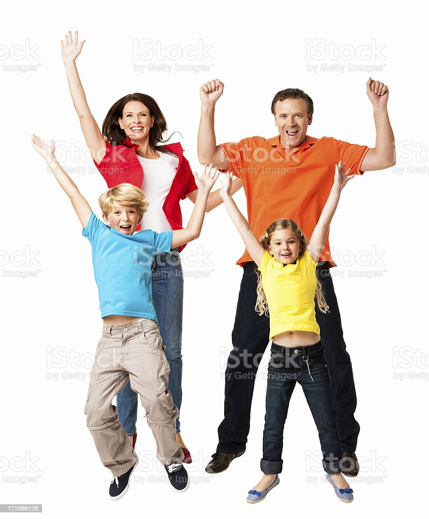Excited Family Jumping Together - Isolated royalty-free stock photo