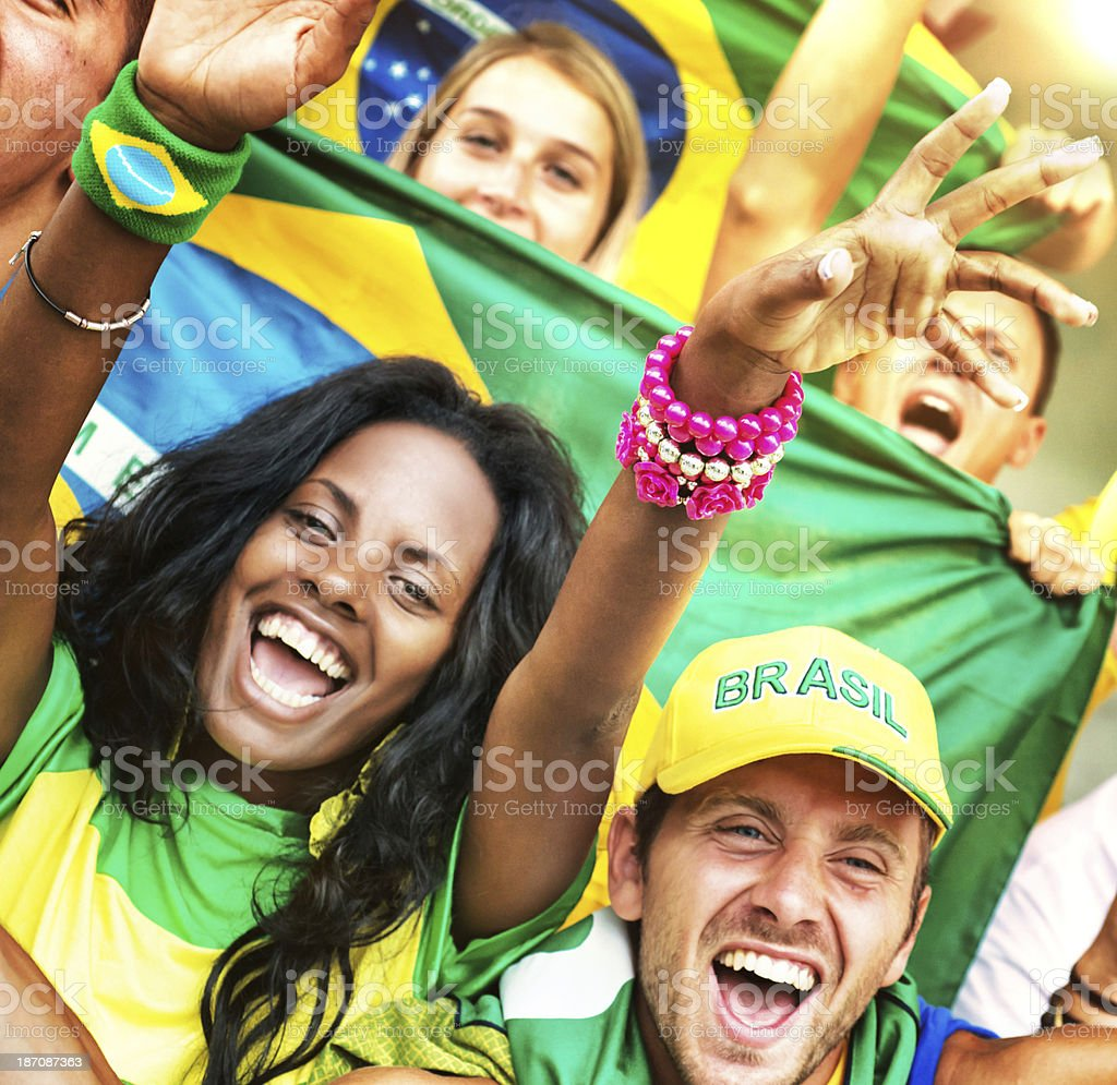 Excited Fans Cheering for Brazil royalty-free stock photo