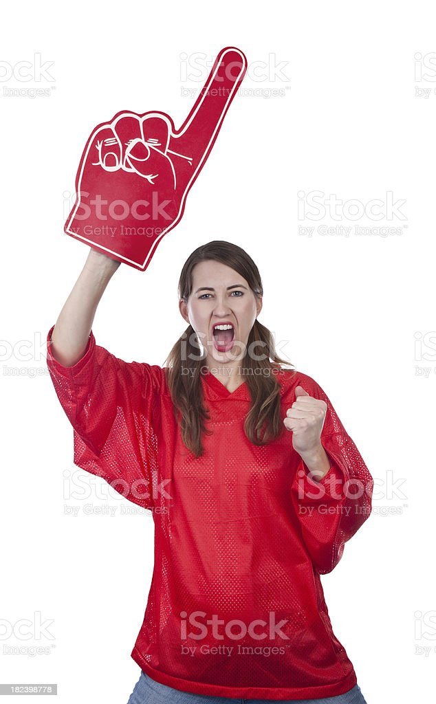 Excited Female Sports Fan With Foam Finger royalty-free stock photo