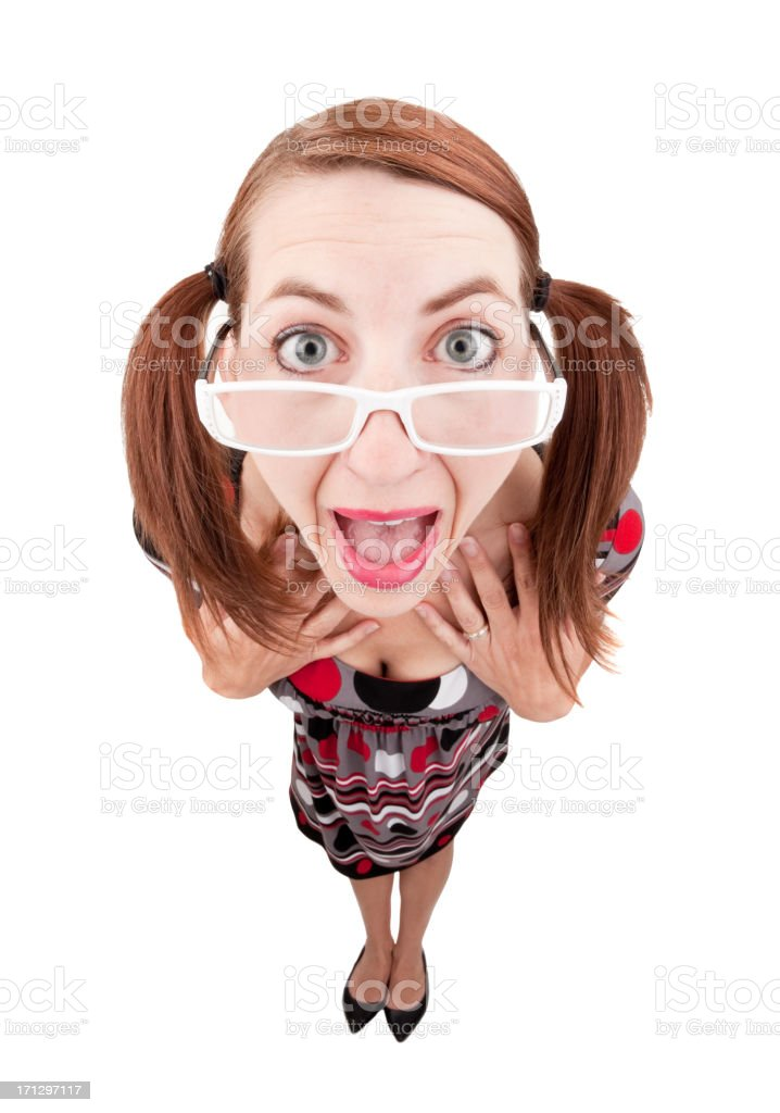 Excited Fisheye Woman With Pigtails royalty-free stock photo