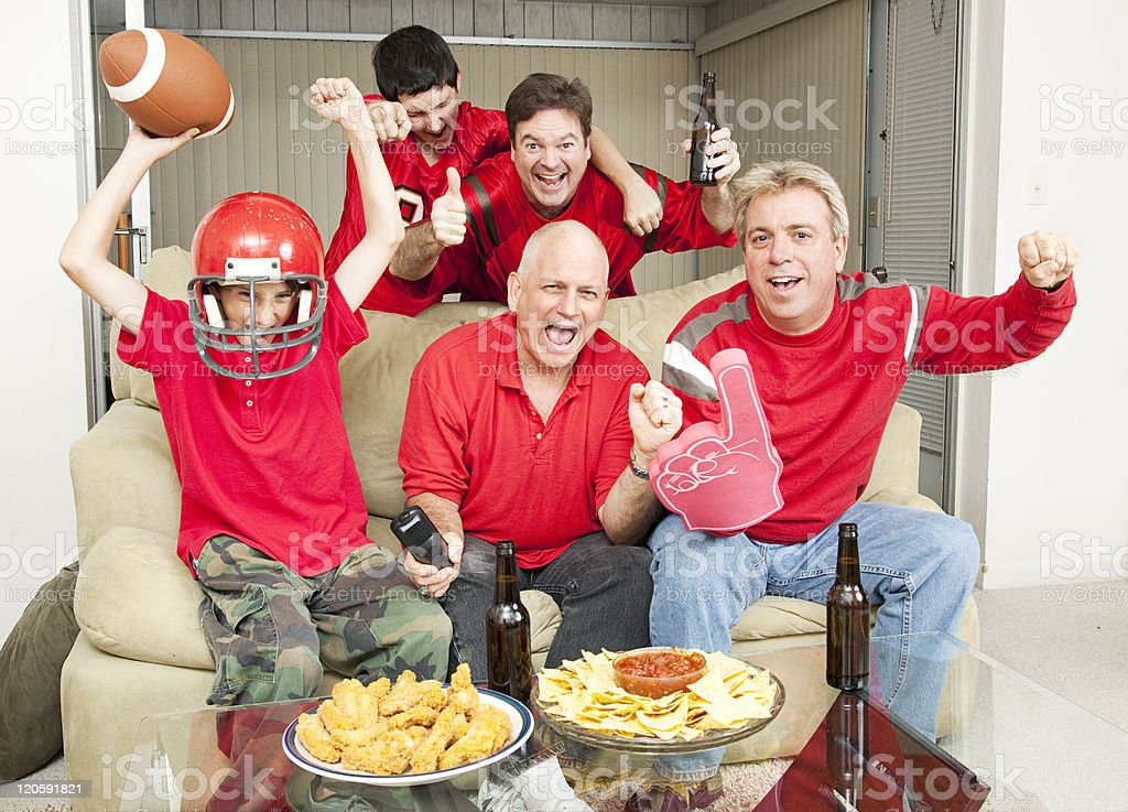 Excited Football Fans royalty-free stock photo