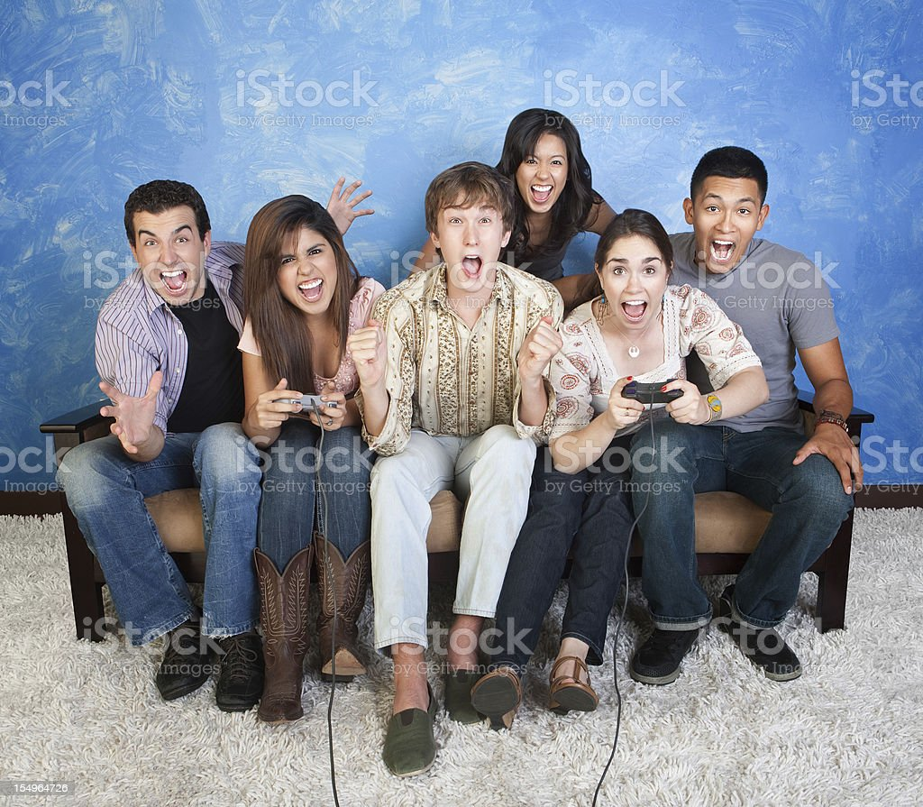 Excited Friends Get Together royalty-free stock photo