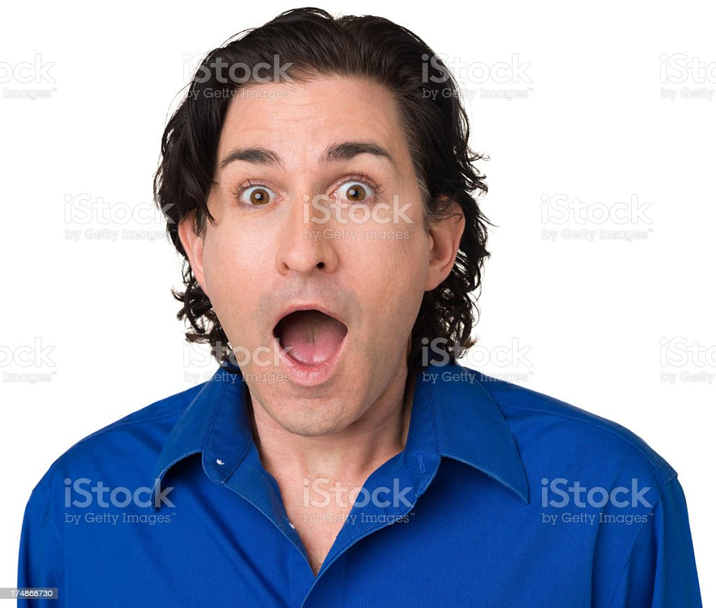 Excited Gasping Man royalty-free stock photo