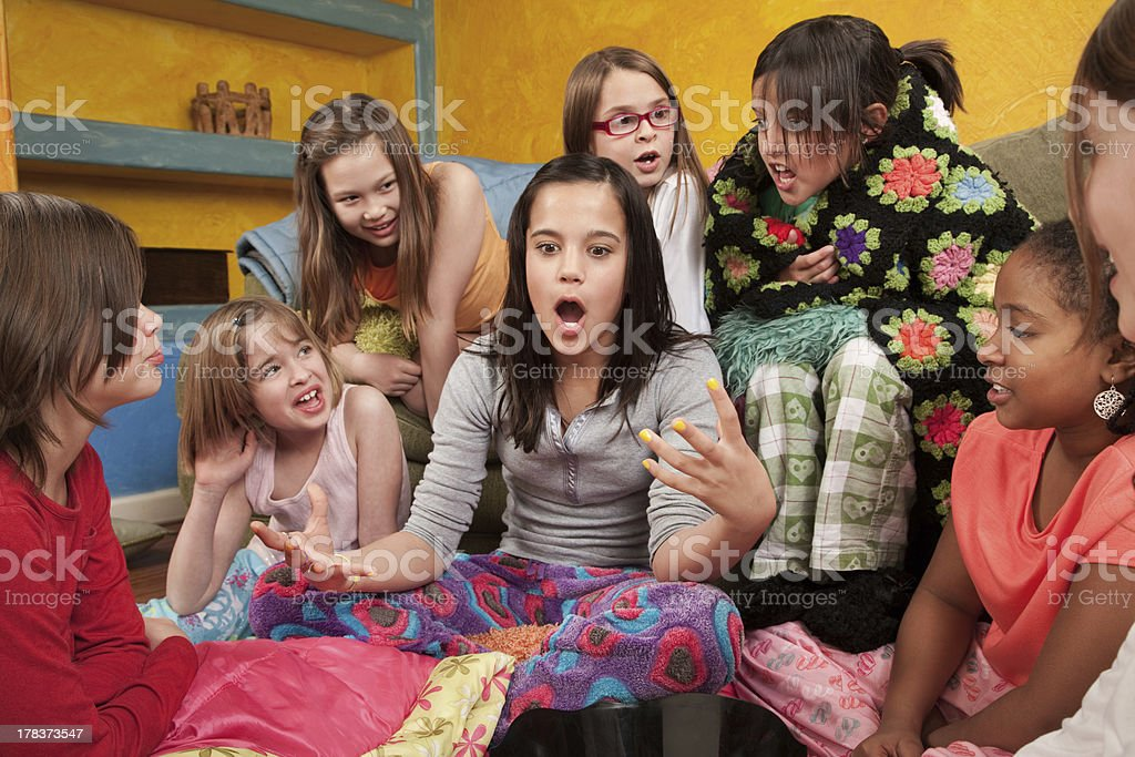 Excited Girl with Friends stock photo