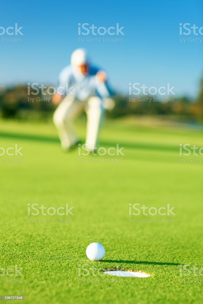 Excited golfer during a game of golf royalty-free stock photo